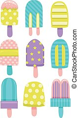 Popsicles Patterns Flat - Flat Illustration Featuring...