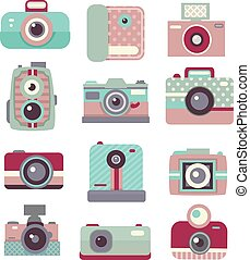 Vintage Cameras Patterns Flat - Flat Illustration Featuring...