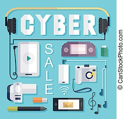 Cyber Sale - Illustration Featuring a Cyber Sale Poster