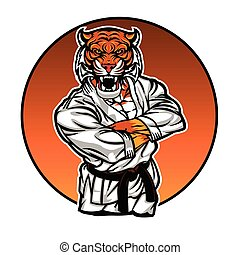 MMA fighter tiger.angry tiger..vector illustration.