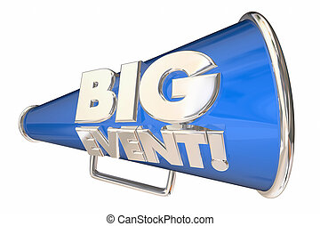 Big Event Party Celebration Bullhorn Megaphone 3d Animation