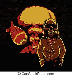Nuclear explosion, - Nuclear explosion ,Skull Gas Mask...