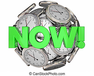Now Clocks This Moment Time Urgent Word 3d Illustration