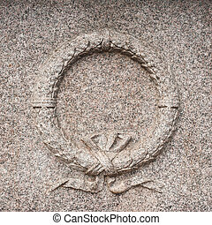 Granite stone wreath memory monument detail - Granite stone...