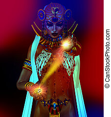 Egyptian Magic - Egyptian fantasy image of a goddess of...