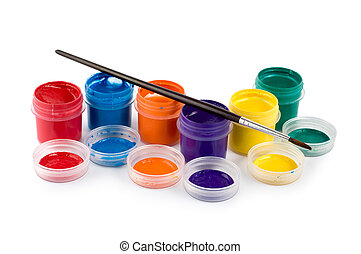 Gouache with brush  isolated on white background