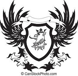 grunge, retro, escudo, Griffon