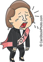 Girl Political Candidate Cry - Illustration of a Female...