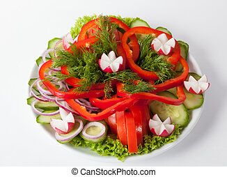 Fresh vegetables plate - Fresh raw vegetables cutted on...