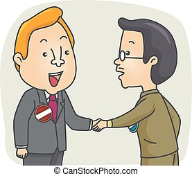 Man Candidates Shake Hands - Illustration of a Pair of Male...