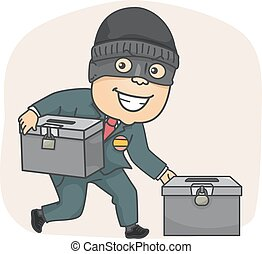 Man Candidate Steal Ballot Boxes - Illustration of a Masked...