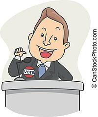 Man Candidate Vote Speech - Illustration of a Political...