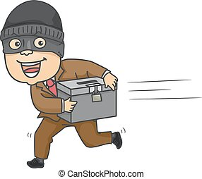 Man Steal Ballot Box - Illustration of a Mugger Running Away...