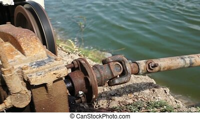 Engine driving water turbines - Diesel Engine turning drive...