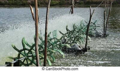 Water Turbines Supplying Fish Pond - Simple Water Treatment...