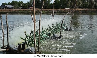 Water Turbines at Fishing Pond - Simple water turbines...