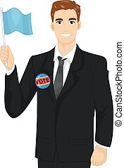 Man Political Candidate Flag - Illustration of a Male...
