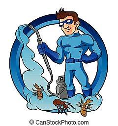 Pest Control superhero.exterminator cartoon.