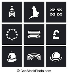 Vector Set of United Kingdom Icons - City clock, island,...