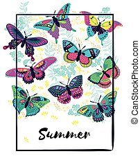 Summer background with butterflies. Can be used for wedding invitation