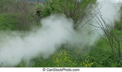 Steam Evacuate Vintage Train - A steam locomotive exhaust...