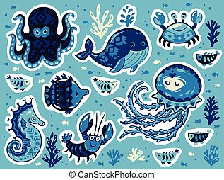 Sticker set of ocean animals in cartoon style - Collection...