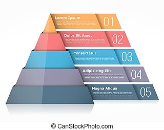 Pyramid chart with four elements, pyramid infographics...