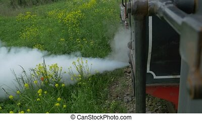 Evacuating Steam Vintage Locomotive - A steam train...