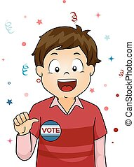 Kid Boy Student Vote - Illustration of a Little Boy Showing...