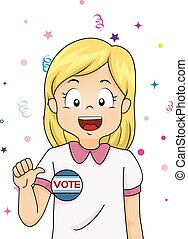 Kid Girl Student Vote - Illustration of a Female Student...