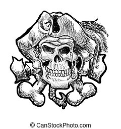 pirate skull in a bandana and a hat with feathers.