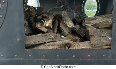 Wood in Steam Locomotive - Wood for burning and heating the...