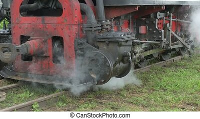 Steam Train Drive Frame - A steam locomotive is stoped on...