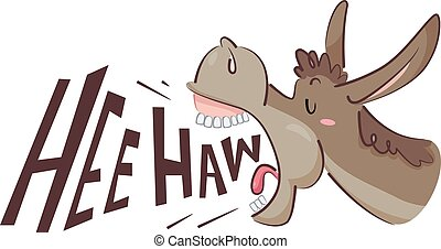 Donkey Hee Haw - Illustration of a Donkey Braying