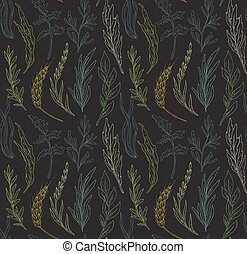 Vector seamless pattern with hand drawn herbs. Colorful...