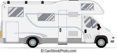 Rv mobile home truck. Traveler truck flat vector icon....