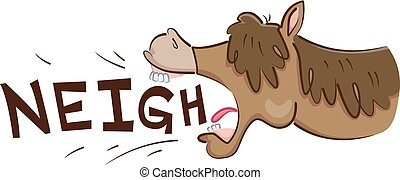 Horse Neigh - Illustration of a Horse Neighing