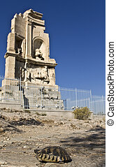Philopappus hill and monument at Athens, Greece