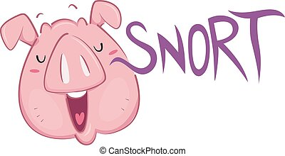 Pig Snort - Illustration of a Pig Snorting