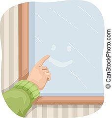 Hand Window Fog Drawing - Illustration of a Kid Drawing a...