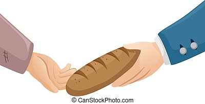 Hands Rich Poor Bread - Illustration of a Rich Man Handing a...