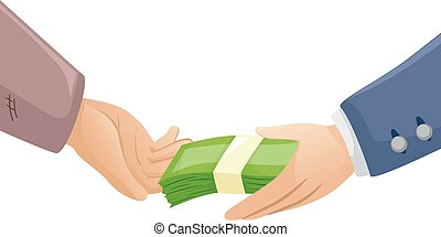 Hands Rich Poor Money - Illustration of a Rich Man Handing...