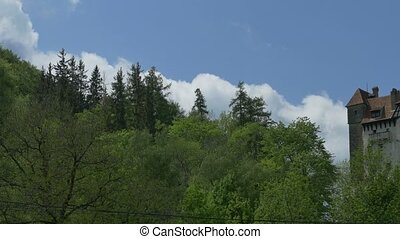 Dracula Castle in Spring - Pan shot to Bran Castle,...