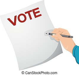 Paper Vote Hand - Illustration of a Man Writing on a Ballot