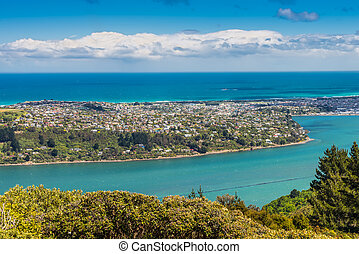 Dunedin and the Otago Harbour, seen from the peak of Signal...
