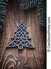 simbol fo christmas tree on wooden board