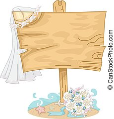 Beach Wedding Sign Board - Illustration of a Wooden Board