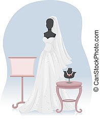 Bridal Gown - Illustration of a Mannequin Wearing a Bridal...
