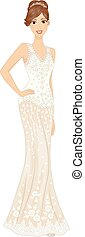 Girl Bridal Gold Gown Pose