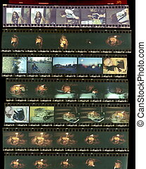 Contact sheet, the old color film positives in a transparent...